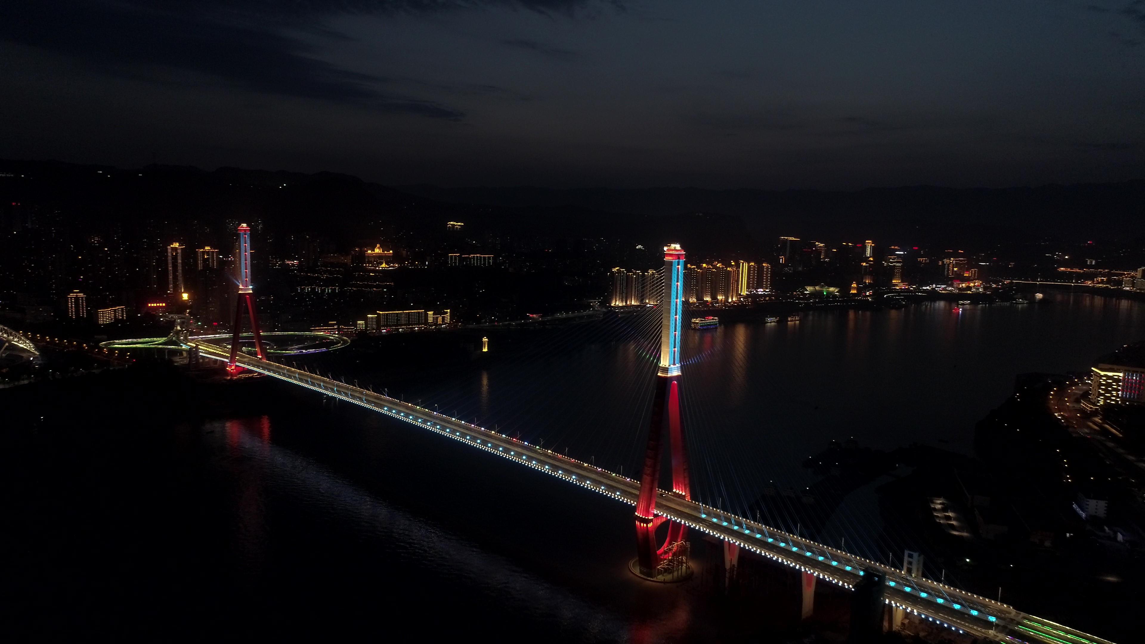 重庆万州三桥灯光秀